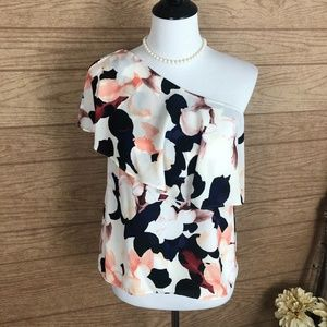 1. State One Shoulder Floral Flounce Top